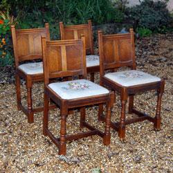 Set Of 4 Trevor Page Upholstered Gothic Revival Oak