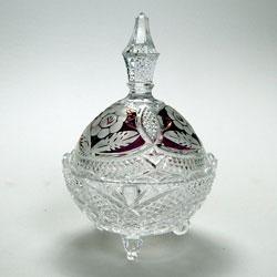 Victorian Bohemian Glass Bon Bon Dish With Lid Bohemian Glass