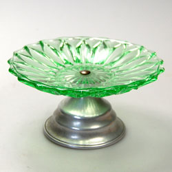 Vintage Green Glass Small Cake Stand Vintage Cake Stands